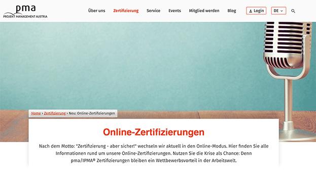 PMA Austria für IPMA Online Prüfungen